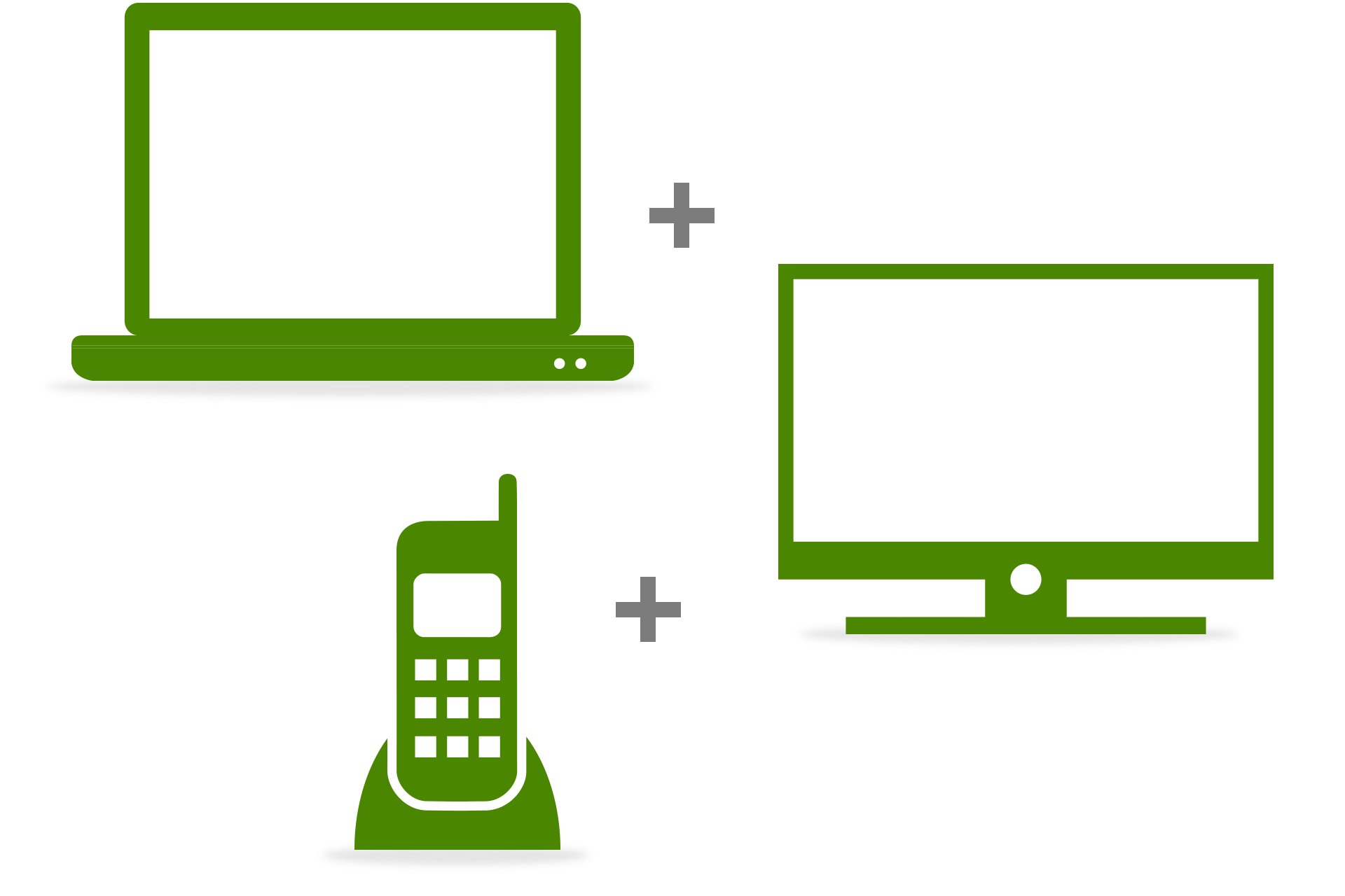 Laptop, TV and Phone icons