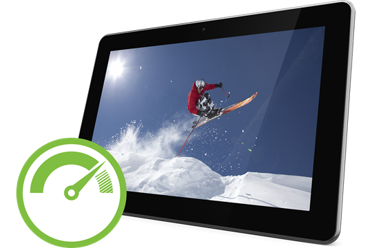 Tablet with image of skiier