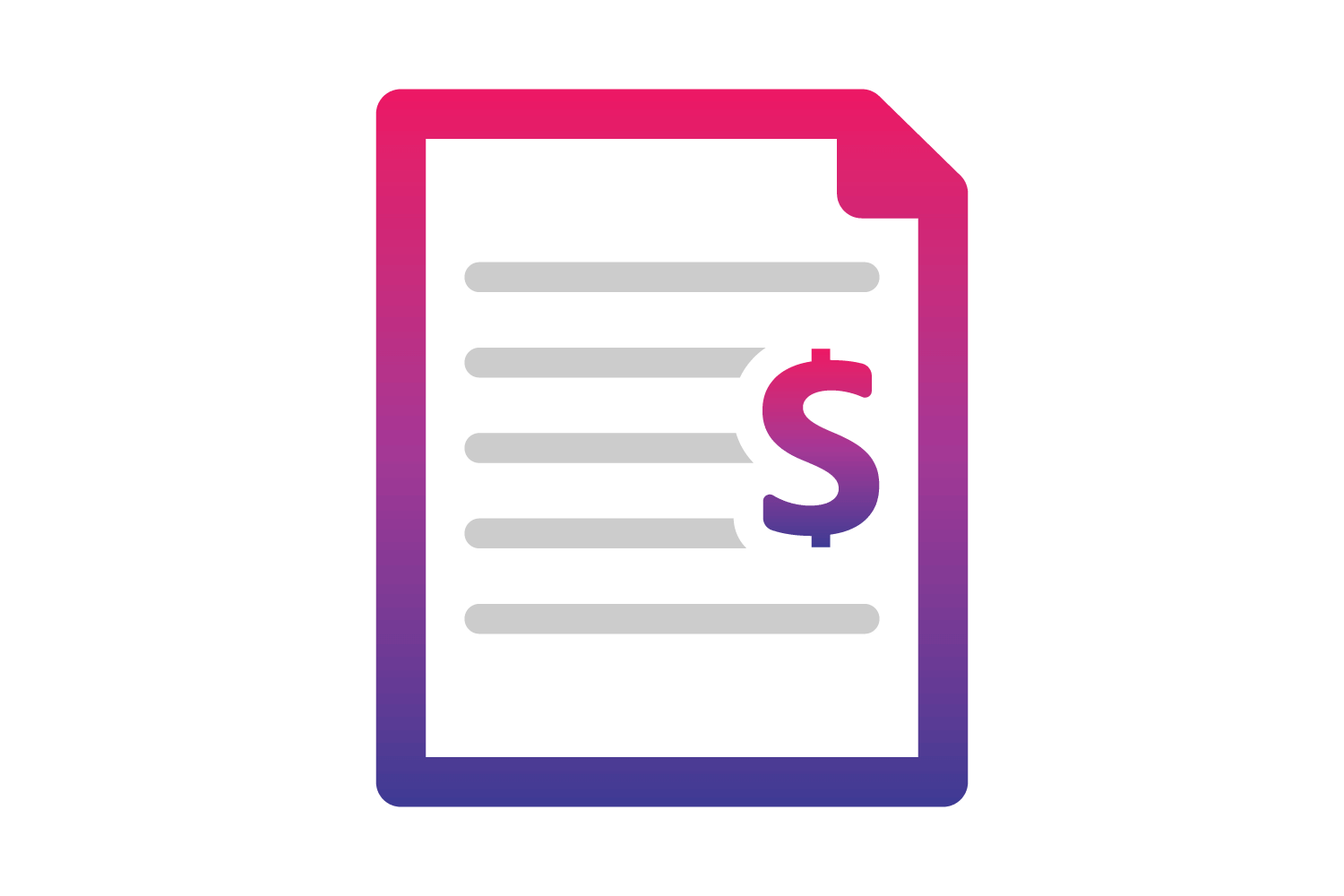 An icon of a document with a dollar sign on it.