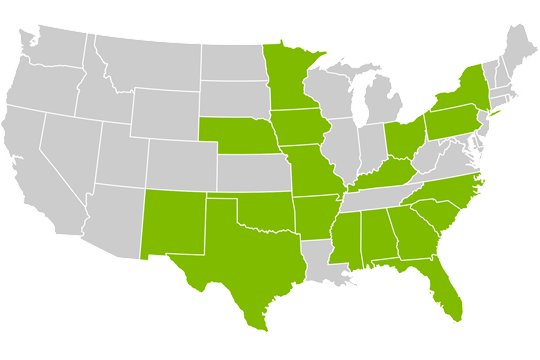 A picture of the states that windstream provides internet services for across the nation.