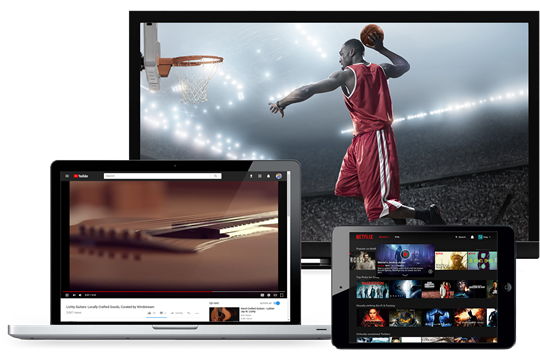 Laptop with image of YouTube, Tablet with image of Netflix, Television with image of basketball game